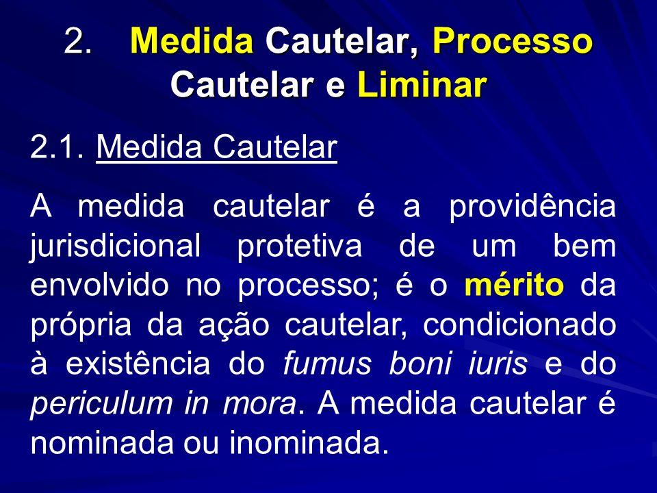 2.Medida Cautelar, Processo Cautelar e Liminar 2.1.Medida Cautelar A medida cautelar é a providência jurisdicional protetiva de um bem envolvido no pr