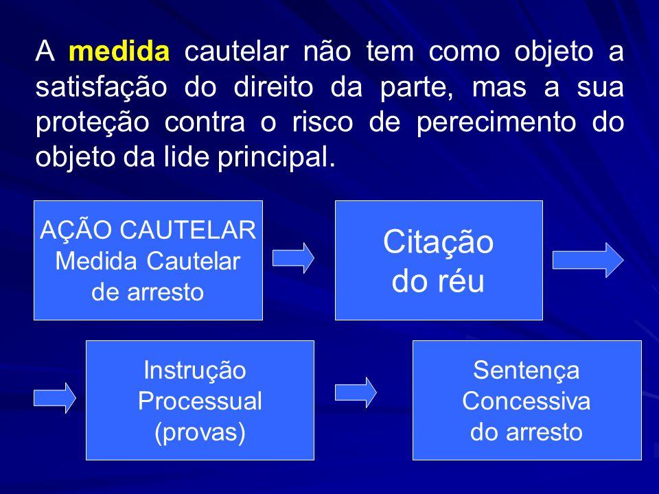A medida cautelar não tem como objeto a satisfação do direito da parte, mas a sua proteção contra o risco de perecimento do objeto da lide principal.