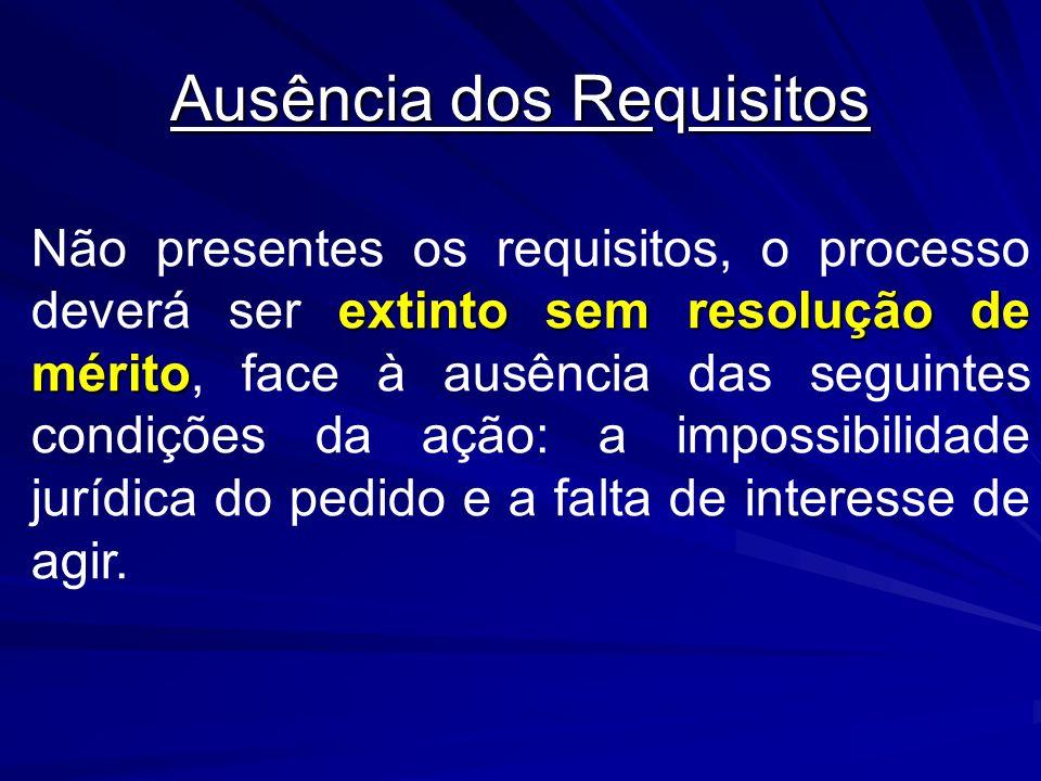 Ausência dos Requisitos extinto sem resolução de mérito Não presentes os requisitos, o processo deverá ser extinto sem resolução de mérito, face à aus