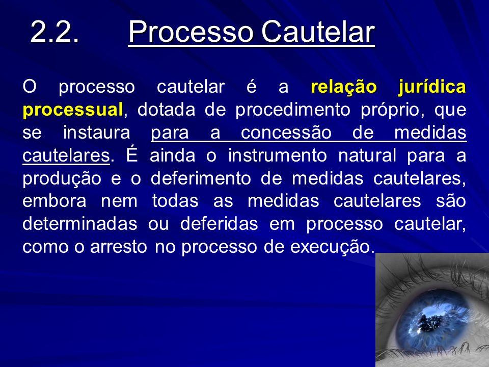 2.2.Processo Cautelar O processo cautelar é a r rr relação jurídica processual, dotada de procedimento próprio, que se instaura para a concessão de me