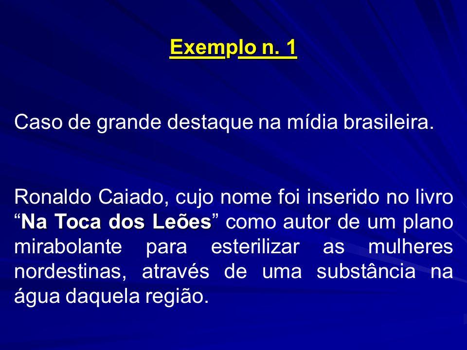 Exemplo n. 1 Caso de grande destaque na mídia brasileira. Na Toca dos Leões Ronaldo Caiado, cujo nome foi inserido no livroNa Toca dos Leões como auto