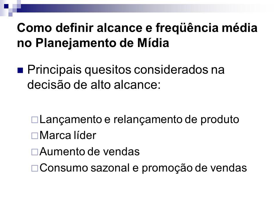 Como definir alcance e freqüência média no Planejamento de Mídia Principais quesitos considerados na decisão de alto alcance: Lançamento e relançament
