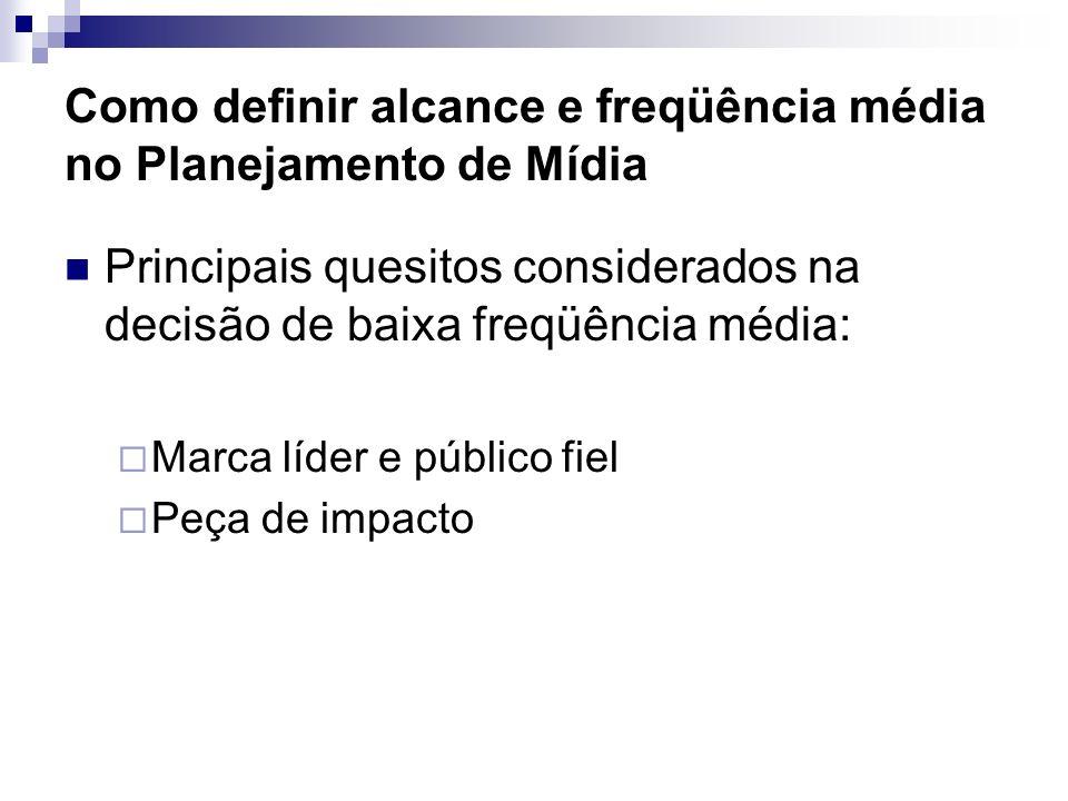 Como definir alcance e freqüência média no Planejamento de Mídia Principais quesitos considerados na decisão de baixa freqüência média: Marca líder e