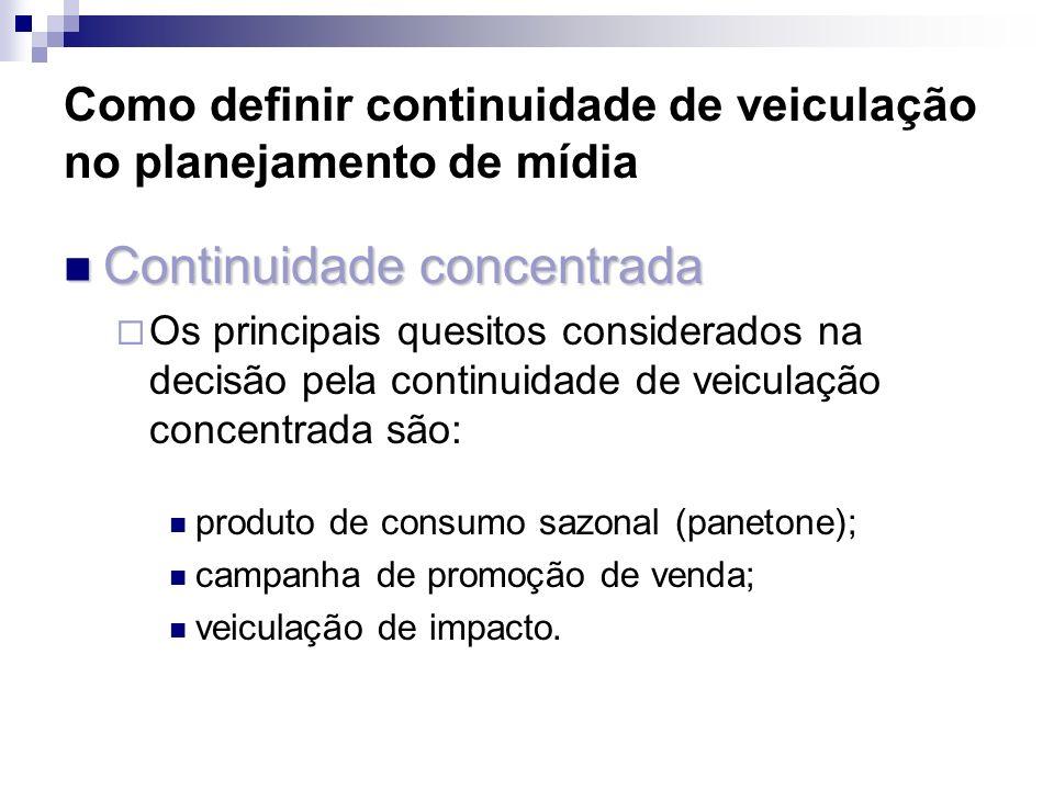 Como definir continuidade de veiculação no planejamento de mídia Continuidade concentrada Continuidade concentrada Os principais quesitos considerados