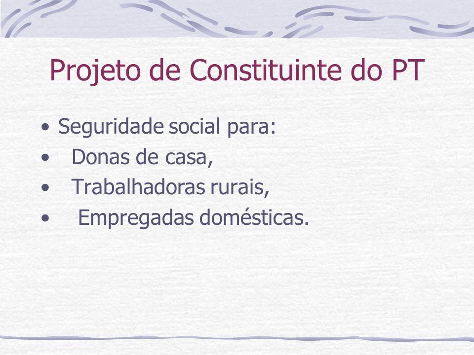 Projeto de Constituinte do PT Seguridade social para: Donas de casa, Trabalhadoras rurais, Empregadas domésticas.