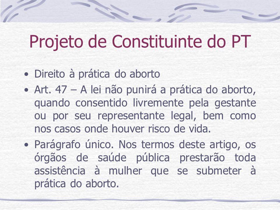 Projeto de Constituinte do PT Direito à prática do aborto Art. 47 – A lei não punirá a prática do aborto, quando consentido livremente pela gestante o