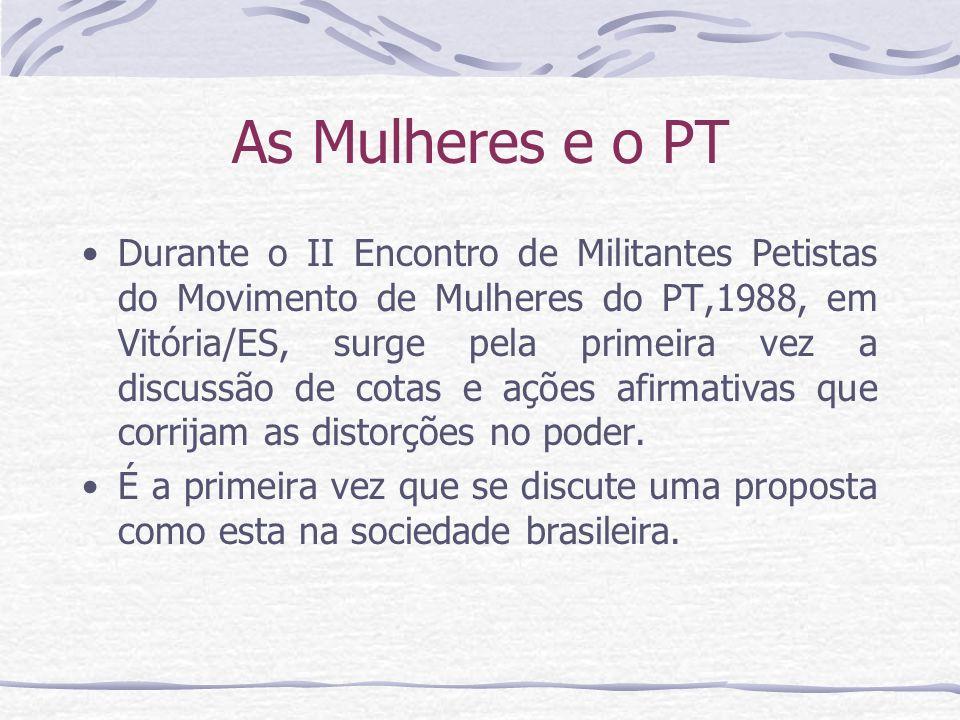 As Mulheres e o PT Durante o II Encontro de Militantes Petistas do Movimento de Mulheres do PT,1988, em Vitória/ES, surge pela primeira vez a discussã