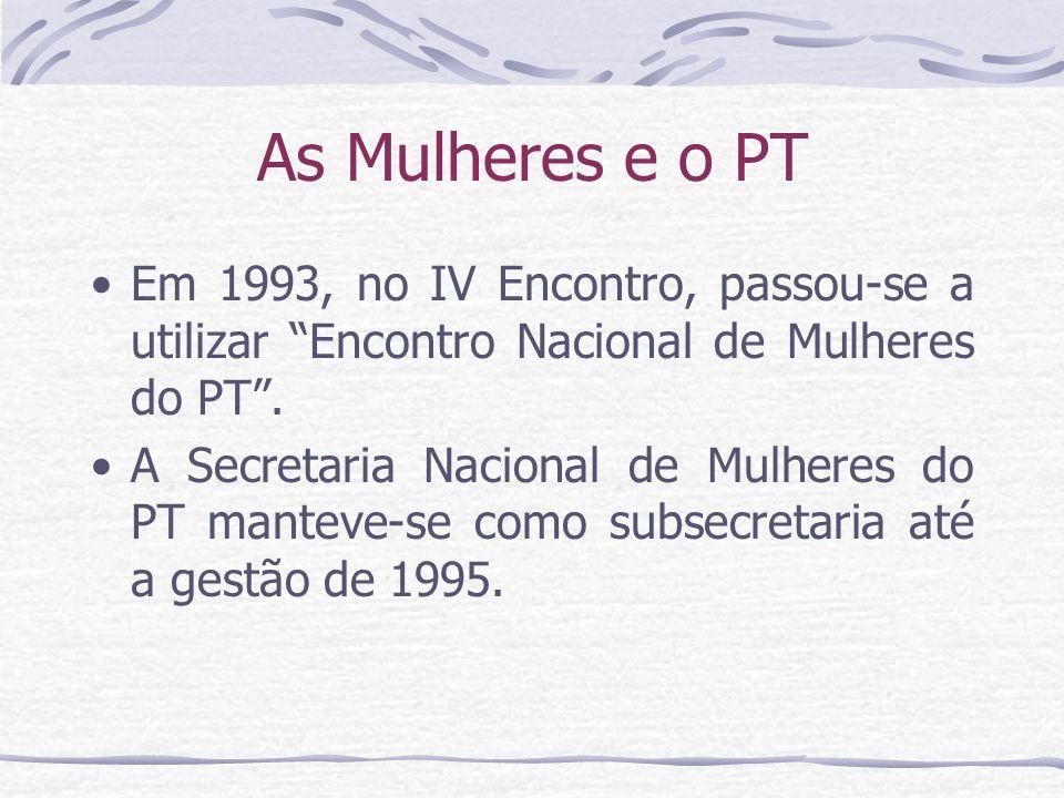 As Mulheres e o PT Em 1993, no IV Encontro, passou-se a utilizar Encontro Nacional de Mulheres do PT. A Secretaria Nacional de Mulheres do PT manteve-