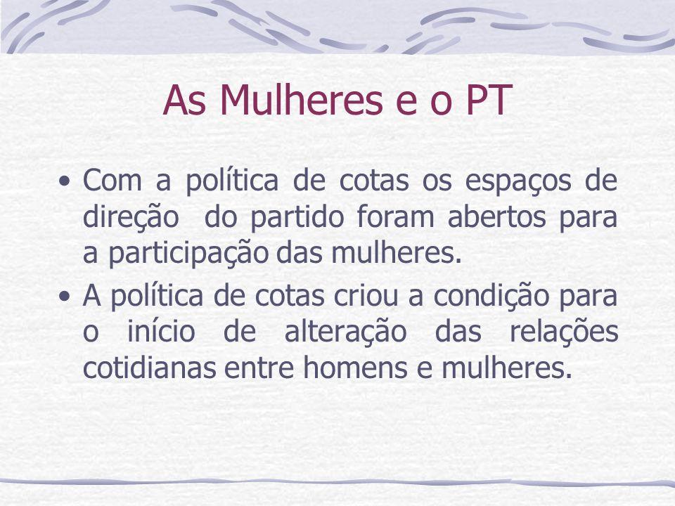 As Mulheres e o PT Com a política de cotas os espaços de direção do partido foram abertos para a participação das mulheres. A política de cotas criou