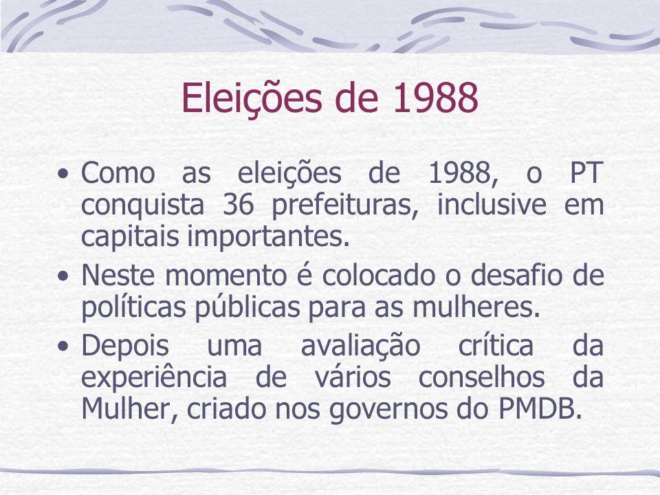 Eleições de 1988 Como as eleições de 1988, o PT conquista 36 prefeituras, inclusive em capitais importantes. Neste momento é colocado o desafio de pol