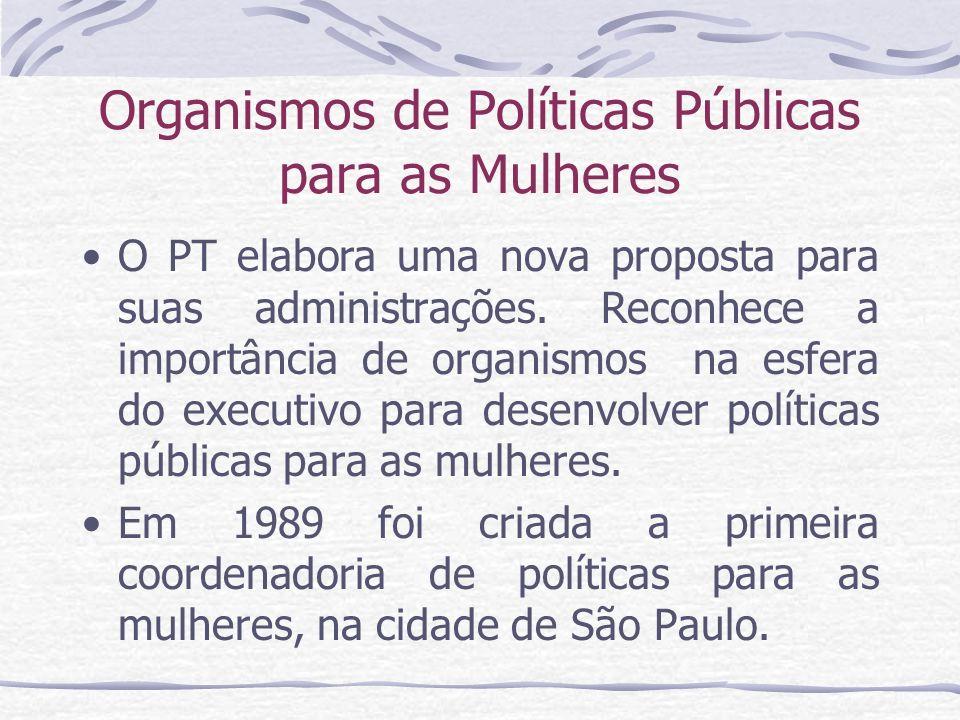 Organismos de Políticas Públicas para as Mulheres O PT elabora uma nova proposta para suas administrações. Reconhece a importância de organismos na es