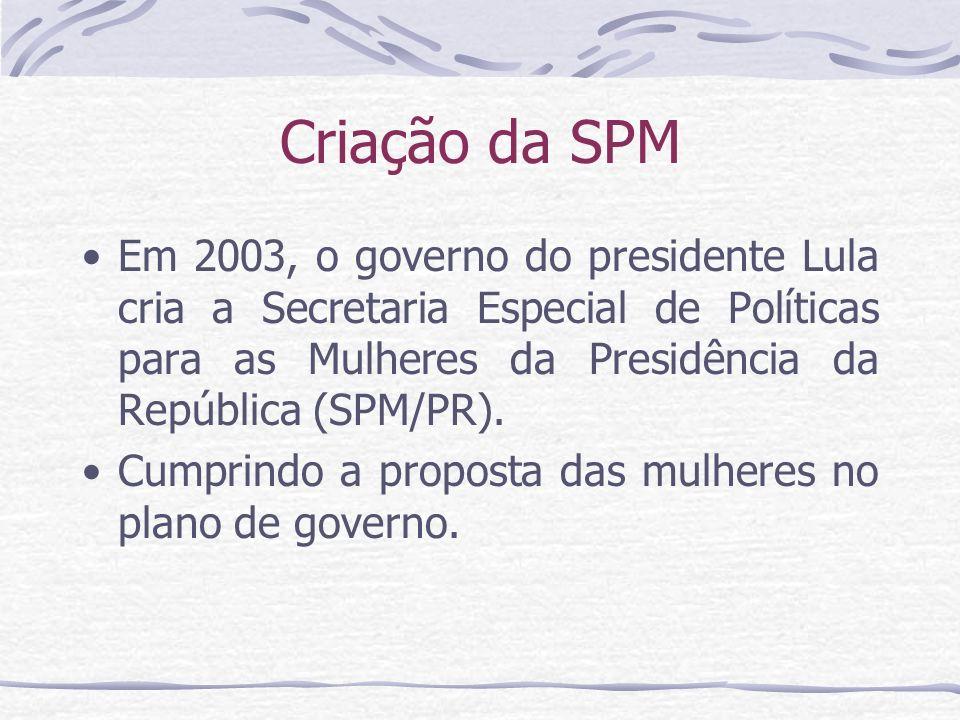 Criação da SPM Em 2003, o governo do presidente Lula cria a Secretaria Especial de Políticas para as Mulheres da Presidência da República (SPM/PR). Cu