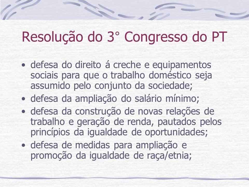 Resolução do 3° Congresso do PT defesa do direito á creche e equipamentos sociais para que o trabalho doméstico seja assumido pelo conjunto da socieda