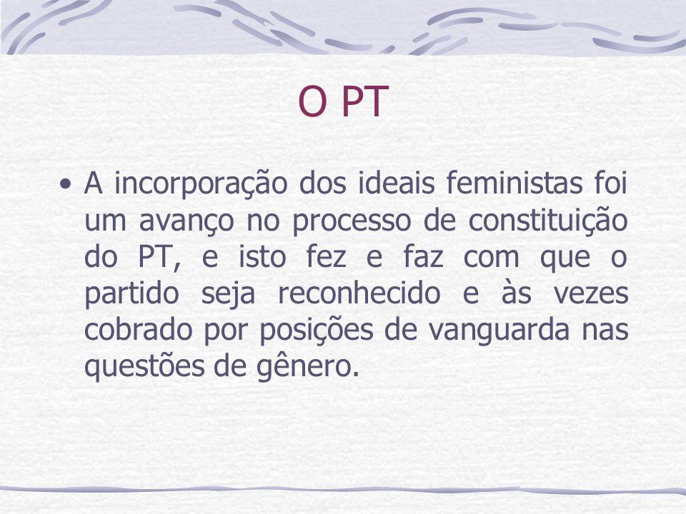 O PT A incorporação dos ideais feministas foi um avanço no processo de constituição do PT, e isto fez e faz com que o partido seja reconhecido e às ve