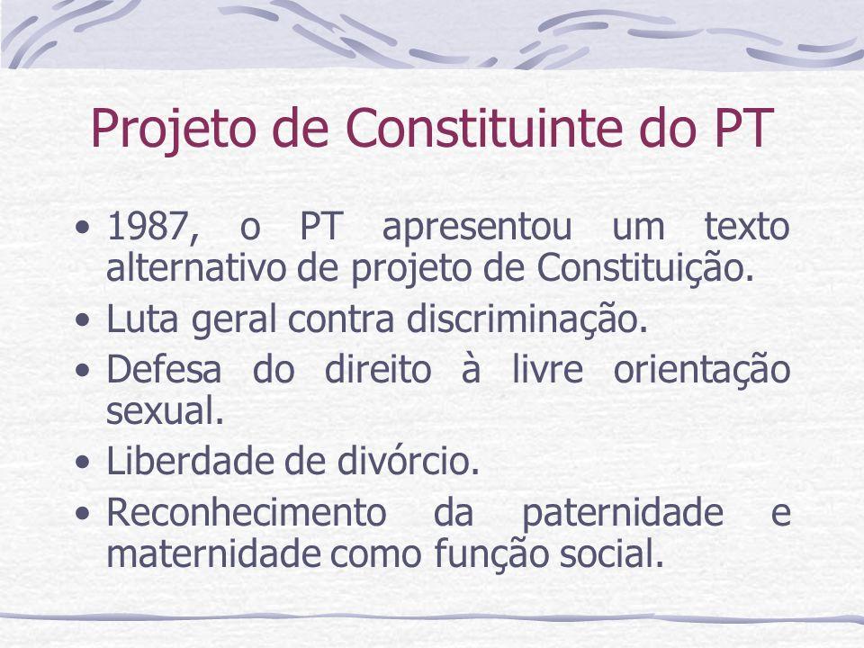 Projeto de Constituinte do PT 1987, o PT apresentou um texto alternativo de projeto de Constituição. Luta geral contra discriminação. Defesa do direit
