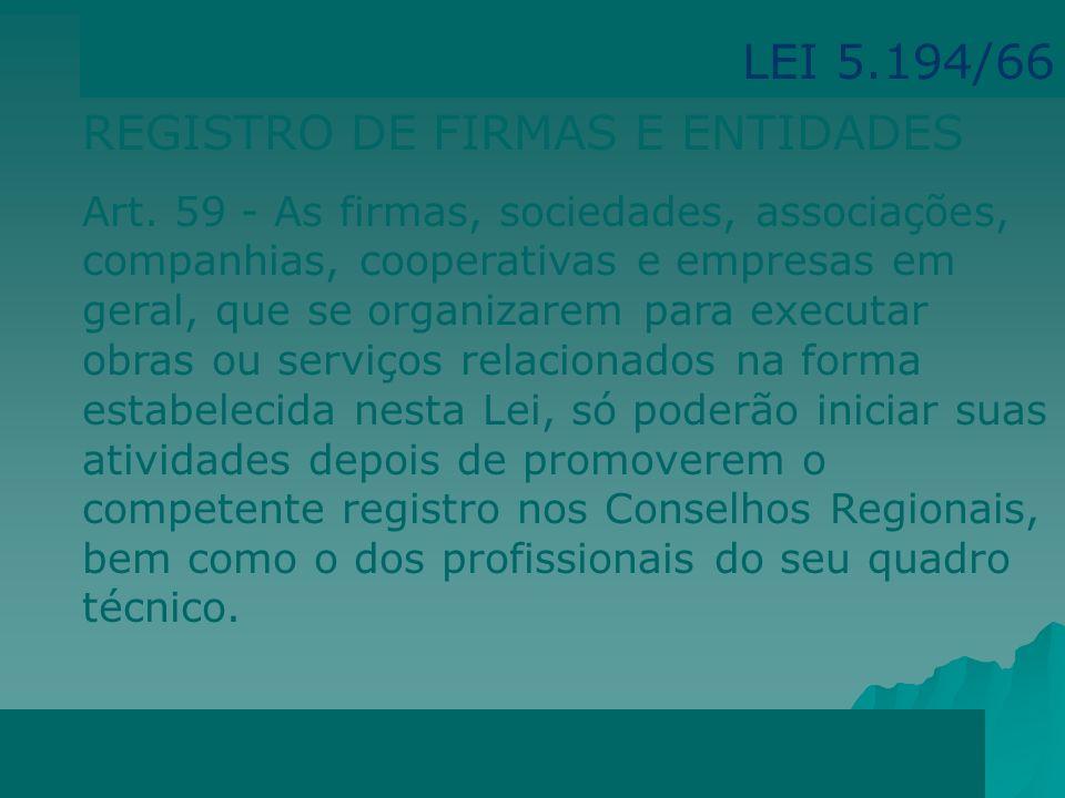 REGISTRO PROFISSIONAL Registro provisório Registro definitivo Visto LEI 5.194/66