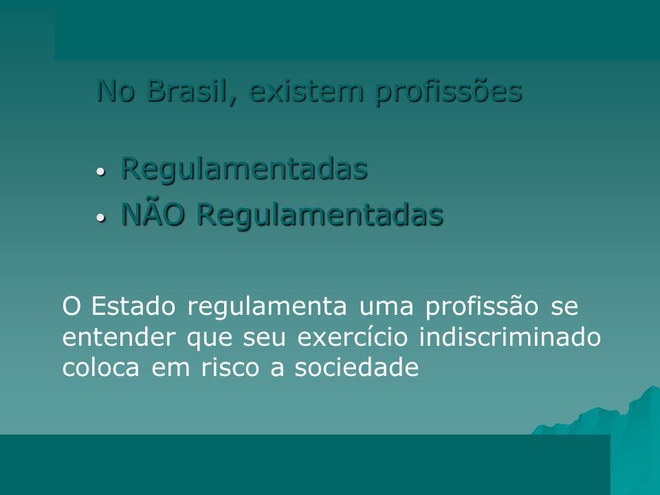 No Brasil, existem profissões Regulamentadas Regulamentadas NÃO Regulamentadas NÃO Regulamentadas O Estado regulamenta uma profissão se entender que seu exercício indiscriminado coloca em risco a sociedade