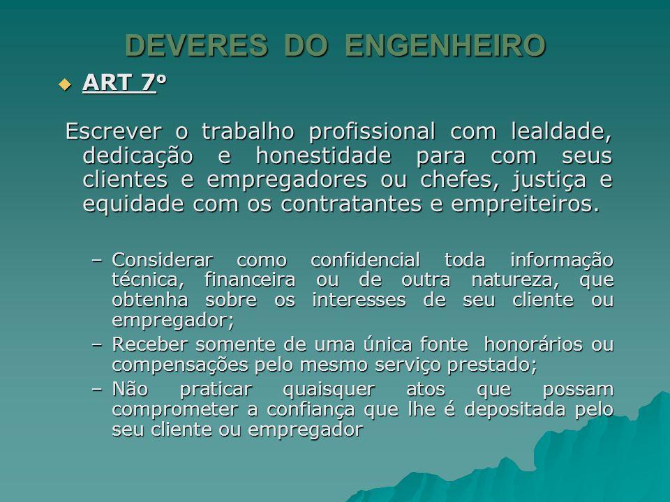 DEVERES DO ENGENHEIRO ART 6 o ART 6 o –Não atuar como consultor sem o conhecimento dos profissionais encarregados diretamente do serviço; –Se atuar co
