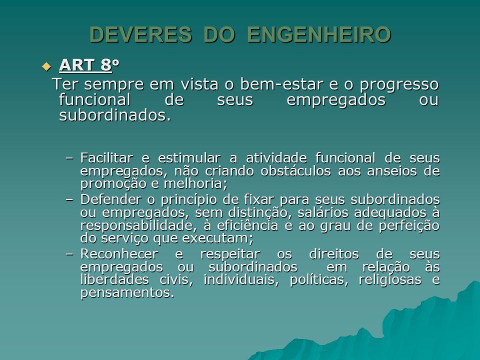 DEVERES DO ENGENHEIRO ART 7 o ART 7 o –Não receber de empreiteiros, fornecedores ou entidades relacionadas com a transação em causa, comissões, descon