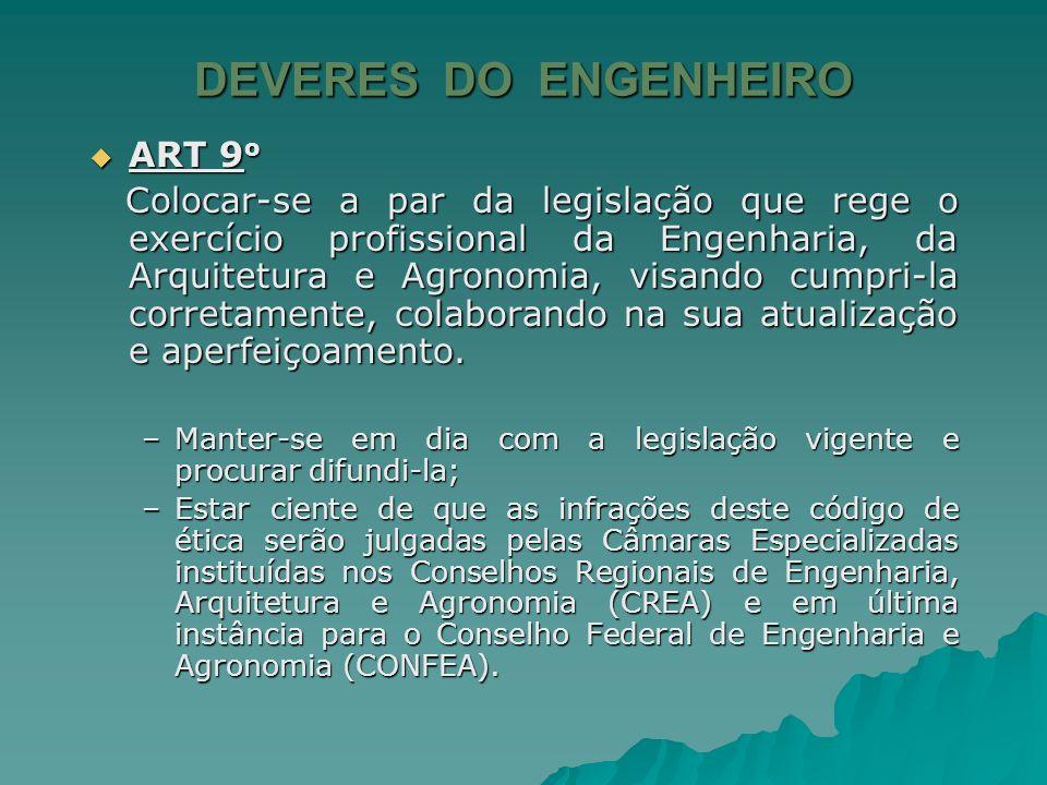DEVERES DO ENGENHEIRO ART 8 o ART 8 o Ter sempre em vista o bem-estar e o progresso funcional de seus empregados ou subordinados. Ter sempre em vista