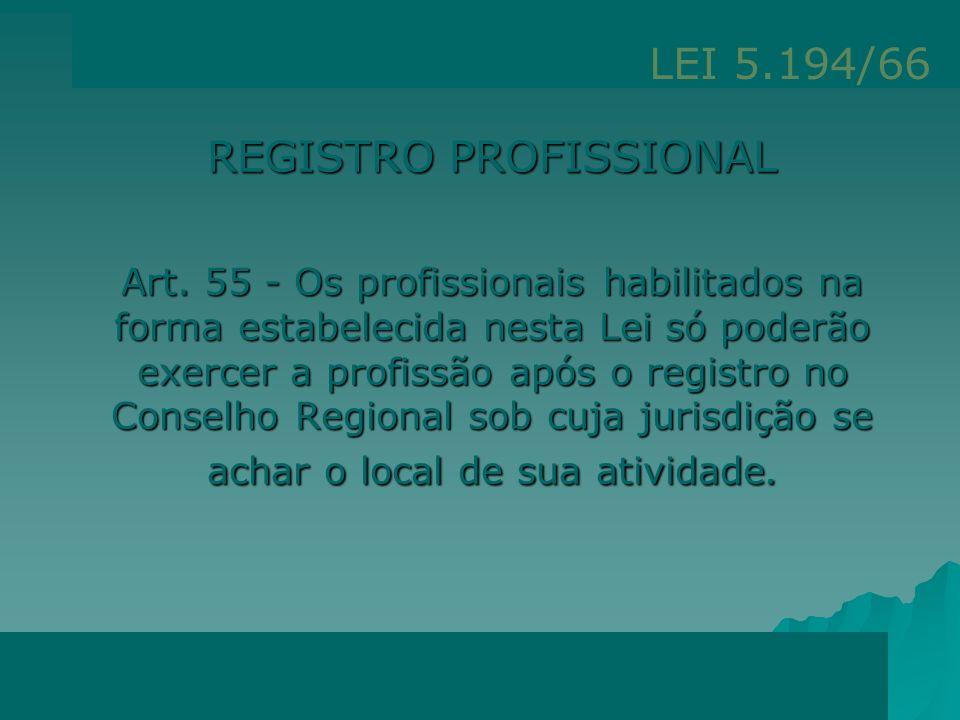 Regula o exercício das profissões de Engenheiro, Arquiteto e Engenheiro Agrônomo e dá outras providências Lei Federal nº 5194/66 Art. 6º - Exercício I
