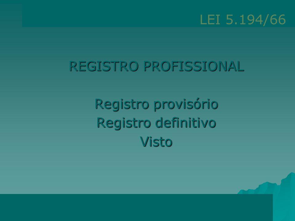 REGISTRO PROFISSIONAL Art. 55 - Os profissionais habilitados na forma estabelecida nesta Lei só poderão exercer a profissão após o registro no Conselh