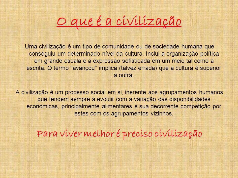 O que é a civilização Uma civilização é um tipo de comunidade ou de sociedade humana que conseguiu um determinado nível da cultura.