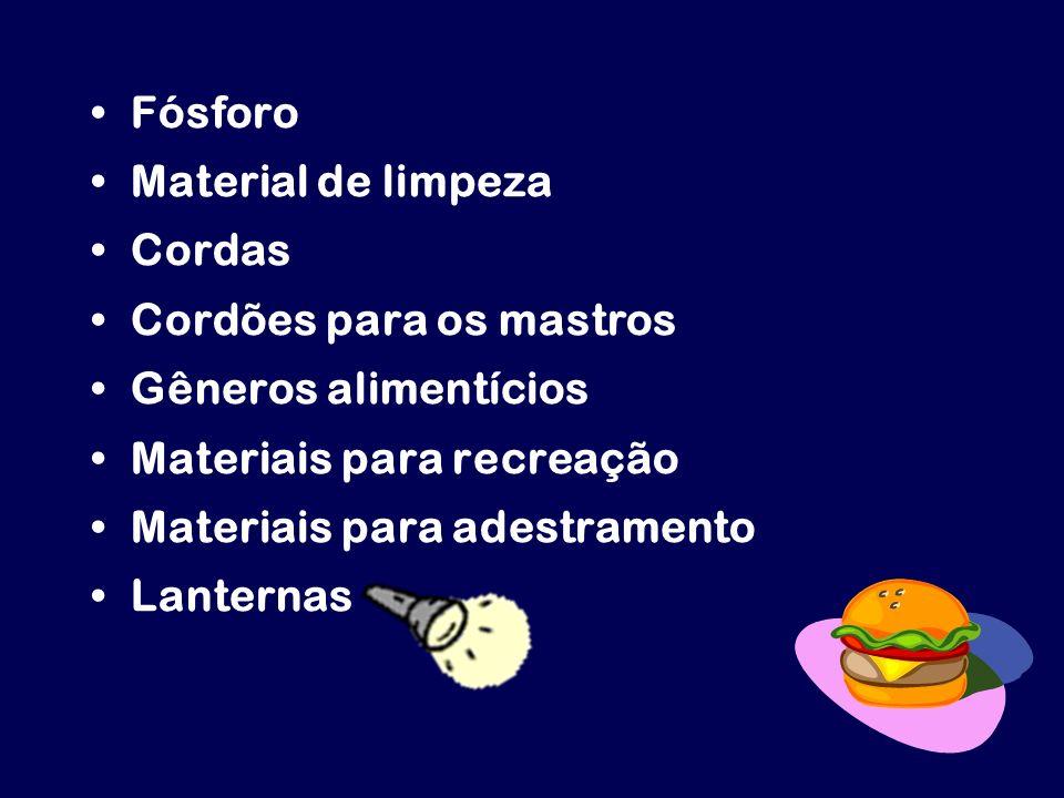 Fósforo Material de limpeza Cordas Cordões para os mastros Gêneros alimentícios Materiais para recreação Materiais para adestramento Lanternas