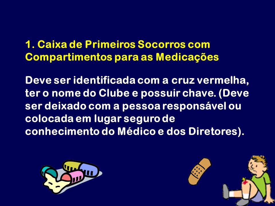 1. Caixa de Primeiros Socorros com Compartimentos para as Medicações Deve ser identificada com a cruz vermelha, ter o nome do Clube e possuir chave. (