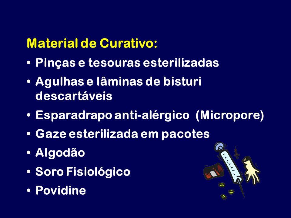 Material de Curativo: Pinças e tesouras esterilizadas Agulhas e lâminas de bisturi descartáveis Esparadrapo anti-alérgico (Micropore) Gaze esterilizad