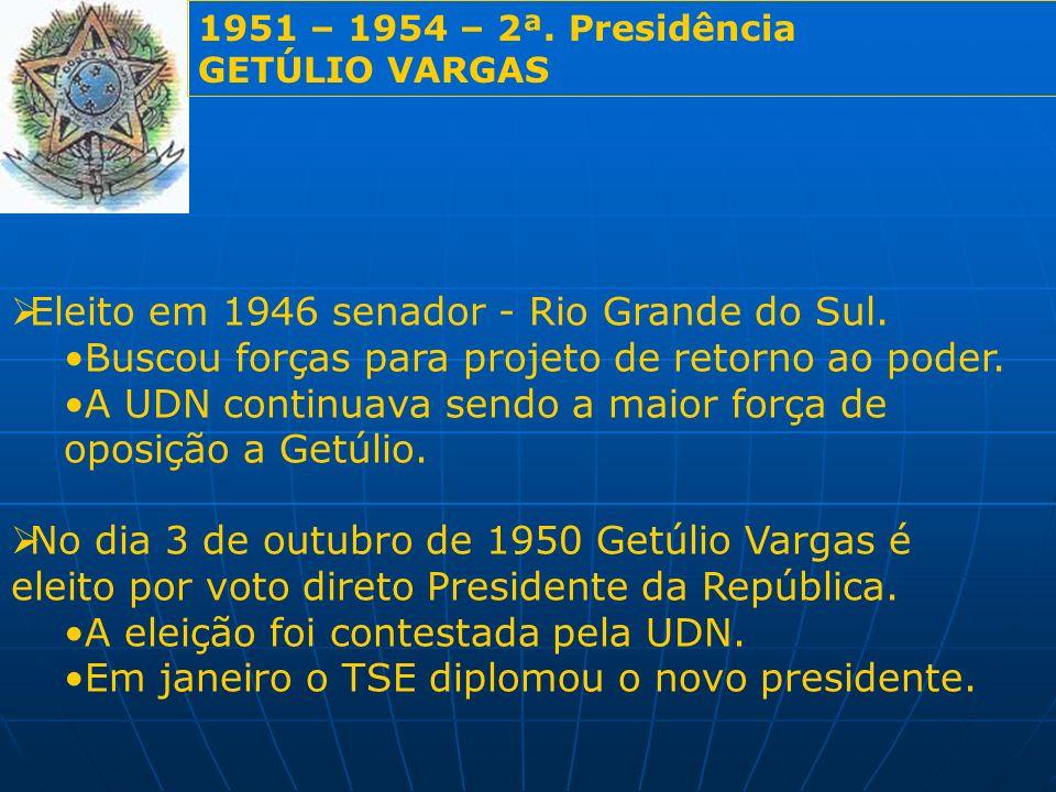 1951 – 1954 – 2ª. Presidência GETÚLIO VARGAS Eleito em 1946 senador - Rio Grande do Sul. Buscou forças para projeto de retorno ao poder. A UDN continu