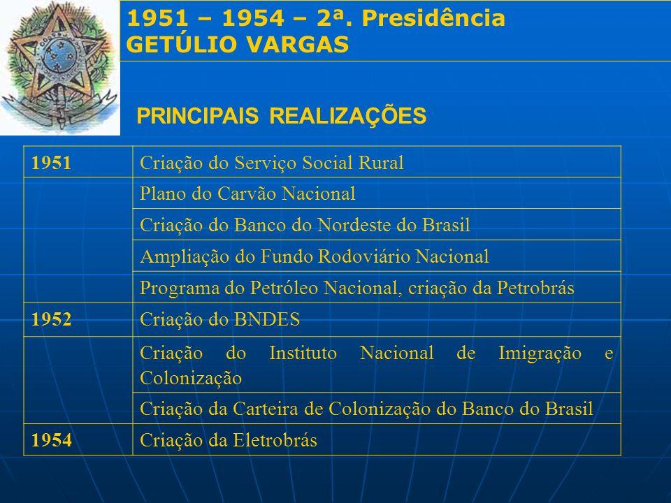 1951 – 1954 – 2ª. Presidência GETÚLIO VARGAS PRINCIPAIS REALIZAÇÕES 1951Criação do Serviço Social Rural Plano do Carvão Nacional Criação do Banco do N