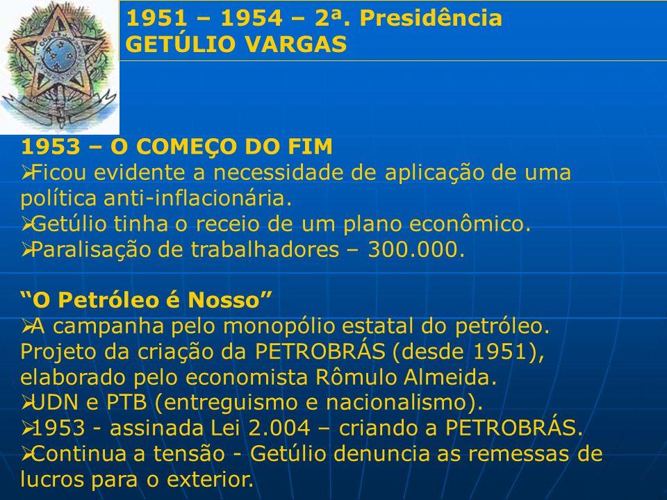 1951 – 1954 – 2ª. Presidência GETÚLIO VARGAS 1953 – O COMEÇO DO FIM Ficou evidente a necessidade de aplicação de uma política anti-inflacionária. Getú
