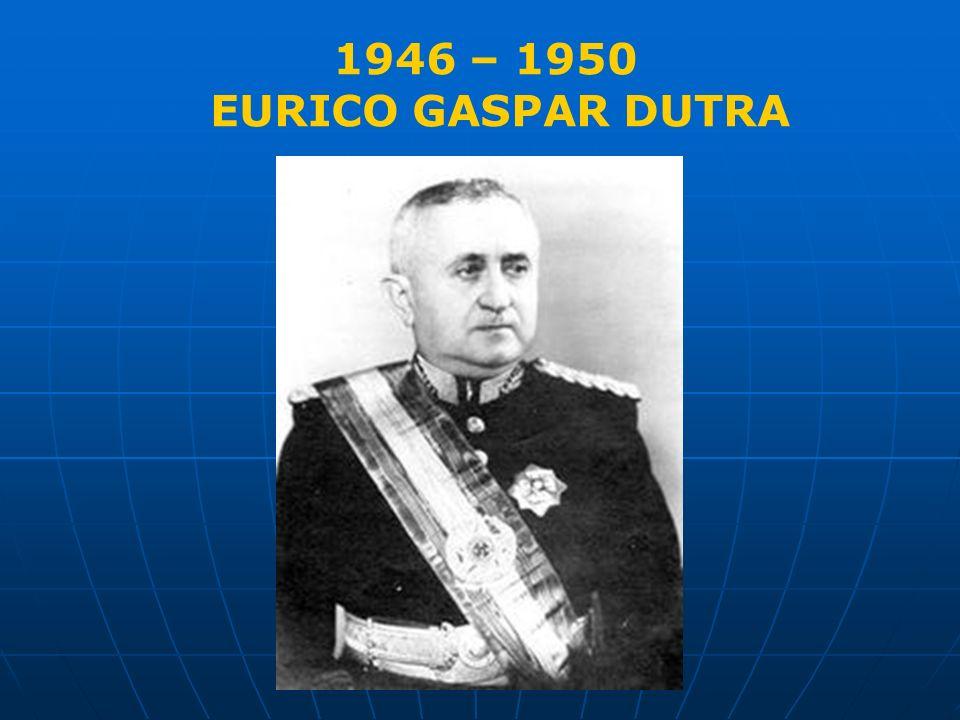 Vargas renuncia em 1945 Dutra é empossado no dia 31 de janeiro de 1946 Continuação do poder das forças do Estado Novo Acordo Interpartidário Dispensa o recurso do apelo a classe trabalhadora 1946 – 1950 EURICO GASPAR DUTRA