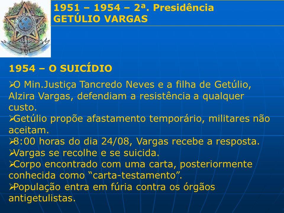 1951 – 1954 – 2ª. Presidência GETÚLIO VARGAS 1954 – O SUICÍDIO O Min.Justiça Tancredo Neves e a filha de Getúlio, Alzira Vargas, defendiam a resistênc