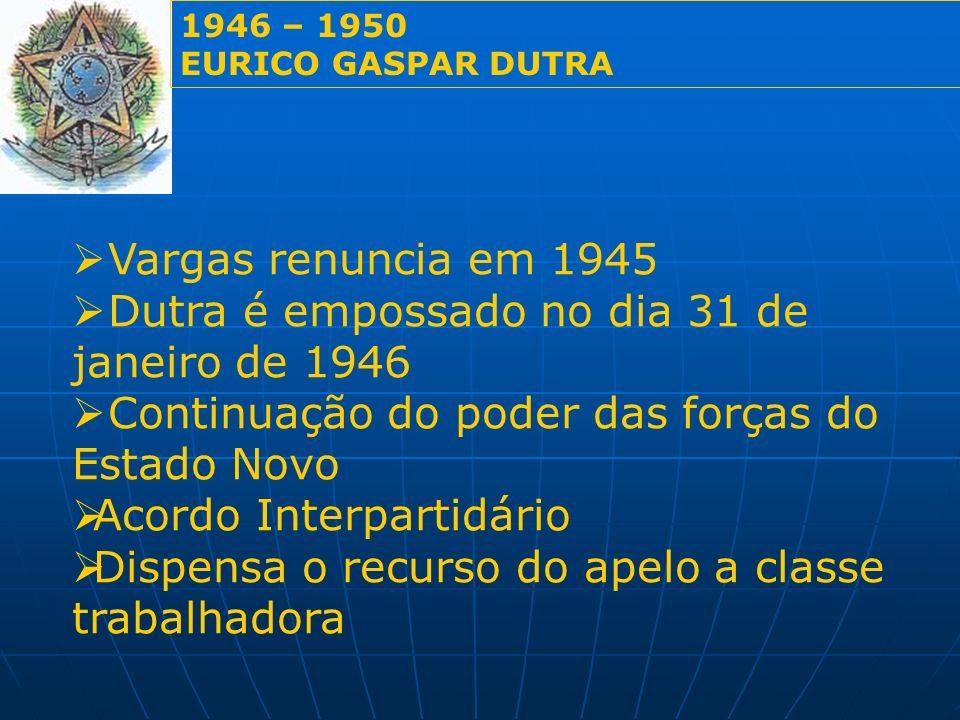 1946 – 1950 EURICO GASPAR DUTRA PRINCIPAIS REALIZAÇÕES 1946Promulgação da quinta constituição do Brasil Criação Serviço Social da Indústria (SESI) Criação Serviço Social do Comércio (SESC) Criação do Estado-Maior Geral Decretou o fechamento dos cassinos Proibiu os jogos de azar no país.