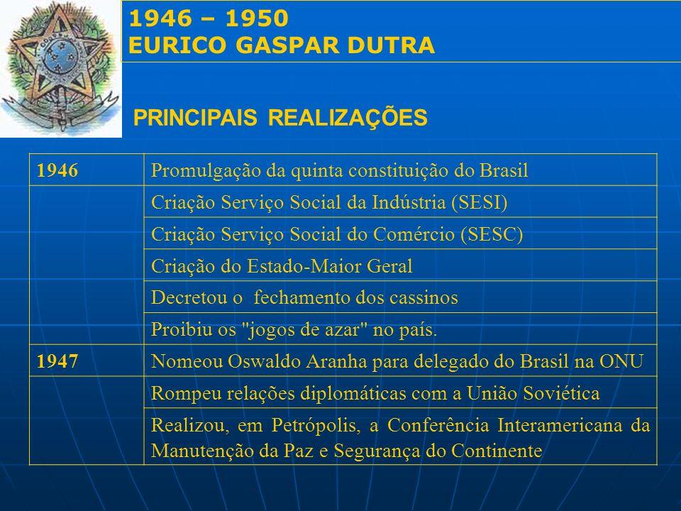 1946 – 1950 EURICO GASPAR DUTRA PRINCIPAIS REALIZAÇÕES 1946Promulgação da quinta constituição do Brasil Criação Serviço Social da Indústria (SESI) Cri