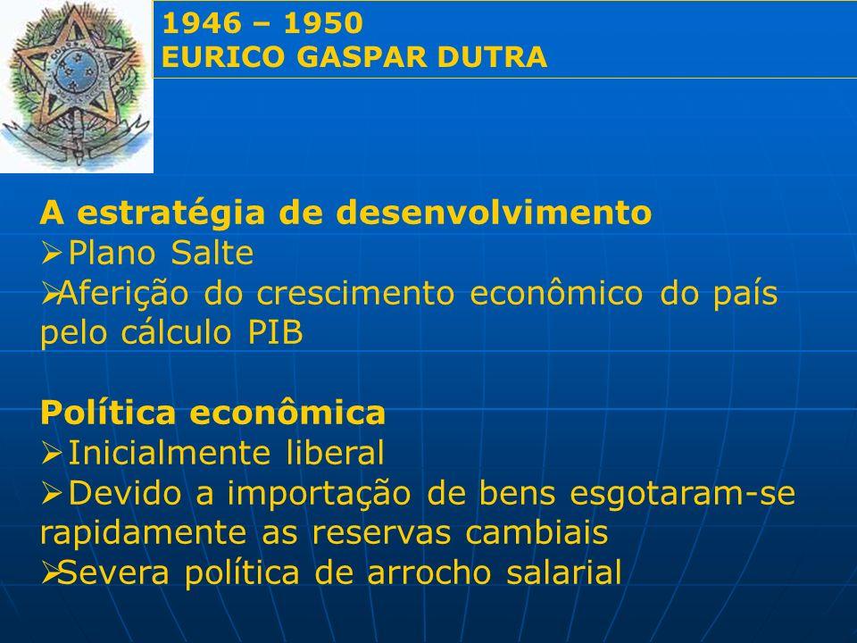 A estratégia de desenvolvimento Plano Salte Aferição do crescimento econômico do país pelo cálculo PIB Política econômica Inicialmente liberal Devido