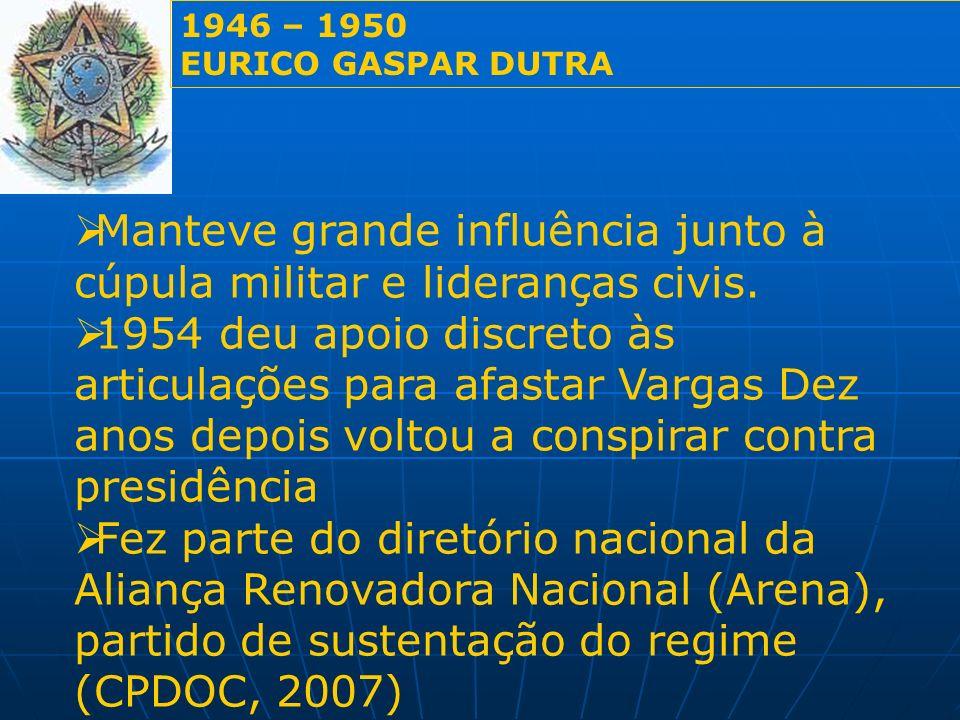 Manteve grande influência junto à cúpula militar e lideranças civis. 1954 deu apoio discreto às articulações para afastar Vargas Dez anos depois volto