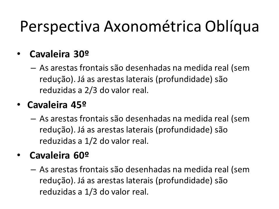 Perspectiva Axonométrica Oblíqua Cavaleira 30º – As arestas frontais são desenhadas na medida real (sem redução). Já as arestas laterais (profundidade