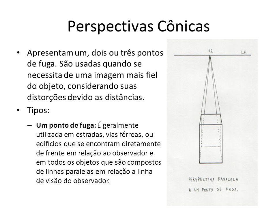Perspectivas Cônicas Apresentam um, dois ou três pontos de fuga. São usadas quando se necessita de uma imagem mais fiel do objeto, considerando suas d