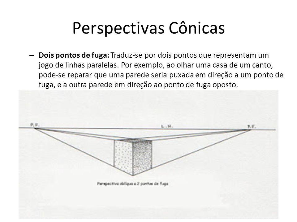 Perspectivas Cônicas – Dois pontos de fuga: Traduz-se por dois pontos que representam um jogo de linhas paralelas. Por exemplo, ao olhar uma casa de u
