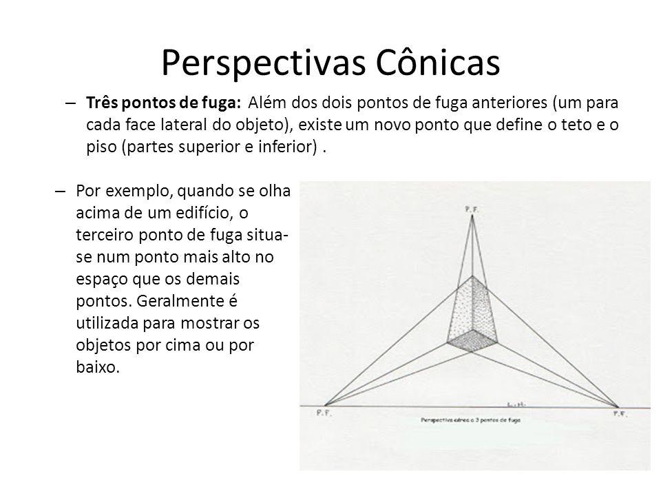 Perspectivas Cônicas – Três pontos de fuga: Além dos dois pontos de fuga anteriores (um para cada face lateral do objeto), existe um novo ponto que de