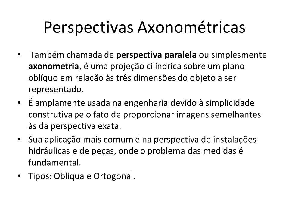 Perspectivas Axonométricas Também chamada de perspectiva paralela ou simplesmente axonometria, é uma projeção cilíndrica sobre um plano oblíquo em rel