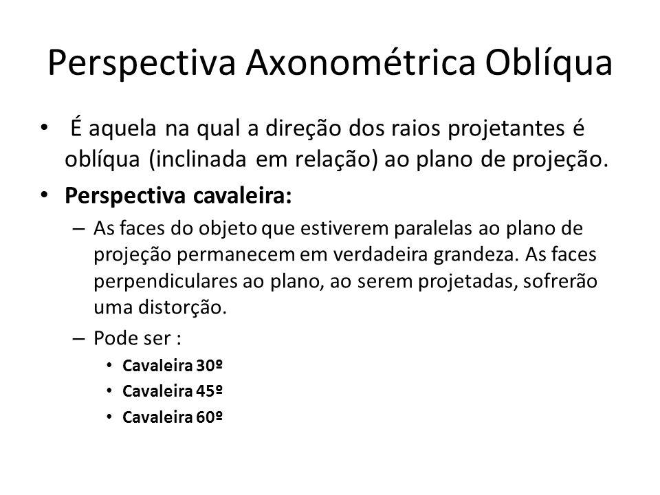 Perspectiva Axonométrica Oblíqua É aquela na qual a direção dos raios projetantes é oblíqua (inclinada em relação) ao plano de projeção. Perspectiva c
