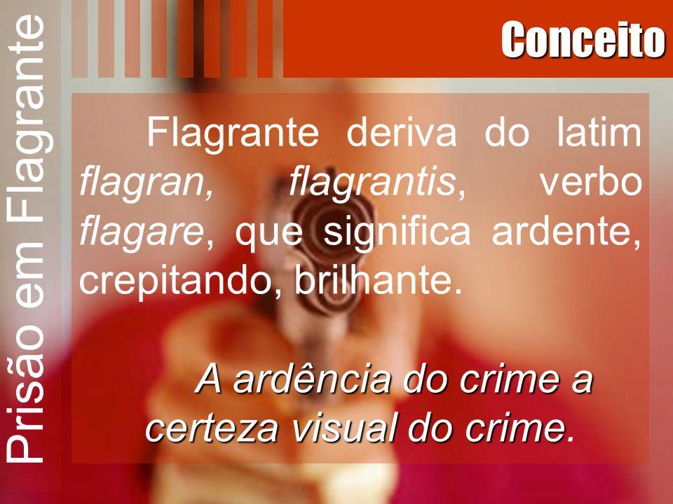 Conceito Flagrante deriva do latim flagran, flagrantis, verbo flagare, que significa ardente, crepitando, brilhante. A ardência do crime a certeza vis