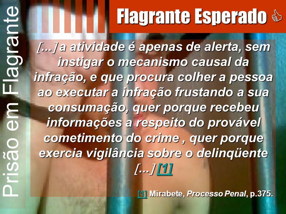 Prisão em Flagrante... a atividade é apenas de alerta, sem instigar o mecanismo causal da infração, e que procura colher a pessoa ao executar a infraç