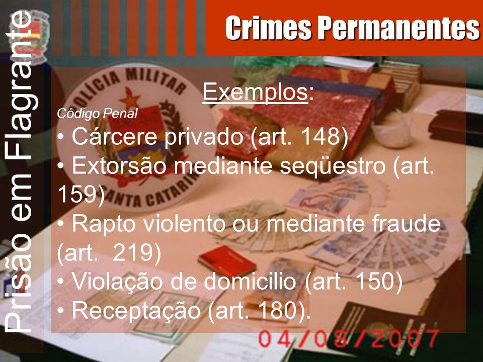 Prisão em Flagrante Exemplos: Código Penal Cárcere privado (art. 148) Extorsão mediante seqüestro (art. 159) Rapto violento ou mediante fraude (art. 2