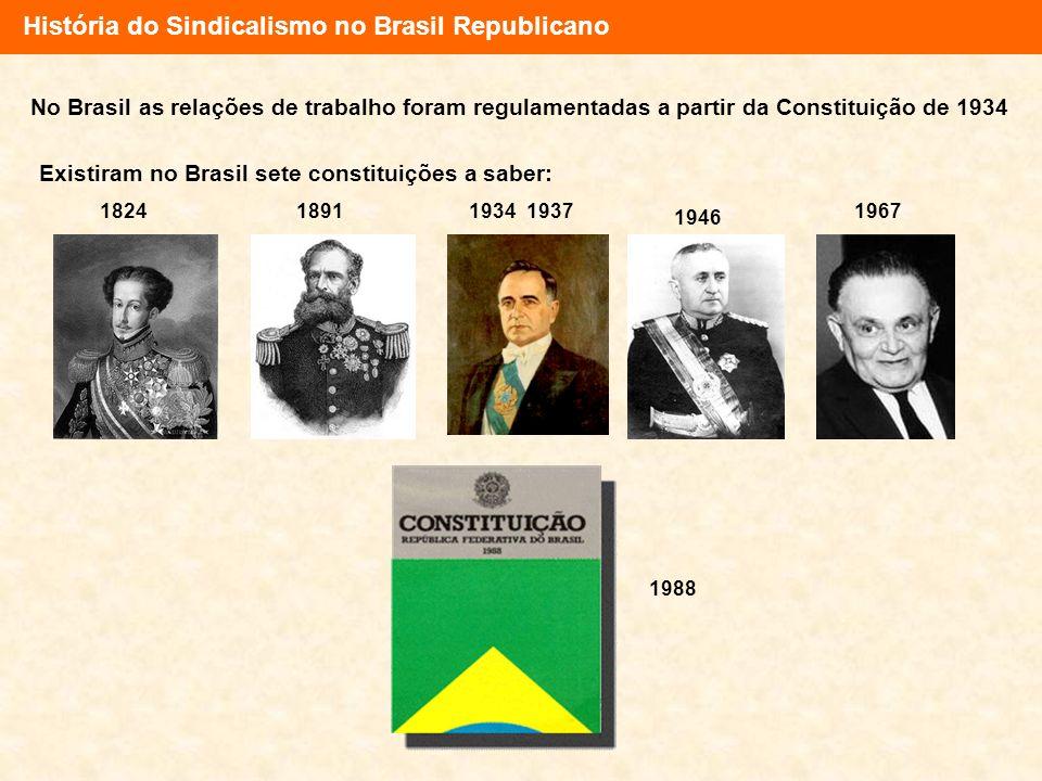 História do Sindicalismo no Brasil Republicano No Brasil as relações de trabalho foram regulamentadas a partir da Constituição de 1934 Existiram no Br