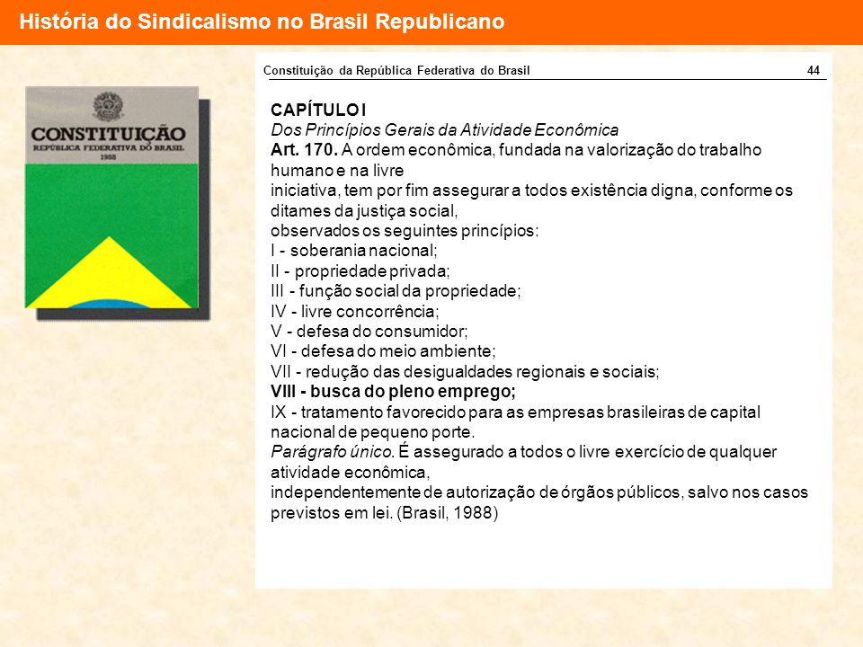 História do Sindicalismo no Brasil Republicano CAPÍTULO I Dos Princípios Gerais da Atividade Econômica Art. 170. A ordem econômica, fundada na valoriz
